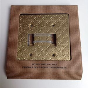 Pair of Gold Tone Metal 2-Gang Switchplate Covers